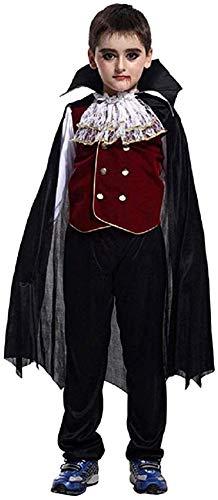 Cloudkids - Disfraz Vampiro para Niños Halloween Disfraces Twilight Vampiros Ropa Pantalones Cape Crepúsculo Regalo para Halloween Carnaval 9-12 Años