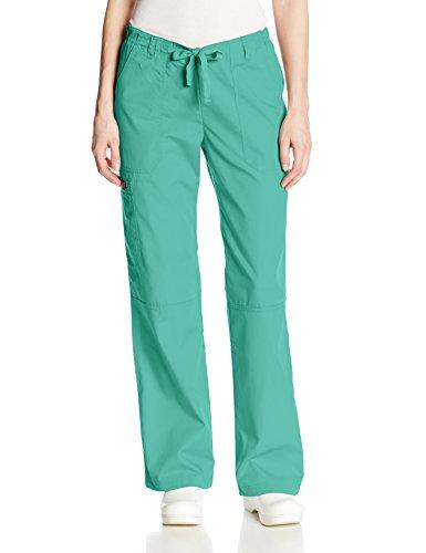 CHEROKEE Women's Low Rise Drawstring Cargo Scrub Pant, Surgical Green, Large Petite