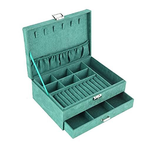 Queen.Y - Portagioie a 2 strati, con chiusura a chiave, in pelle scamosciata, con cassetti, per orecchini, anelli e collane (scatola vuota)