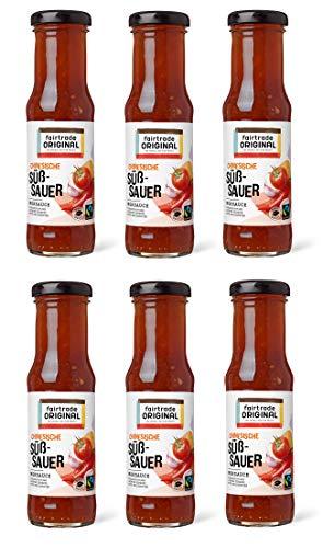 6 x 150 ml Süß Sauer Soße von Fairtrade Original | Sweet Sour Sauce | Chinesische Süß Sauer Sauce | Woksauce | Soße mit Chili | Gewürzsauce für asiatische Speisen | für Hähnchen, Fisch, Gemüse