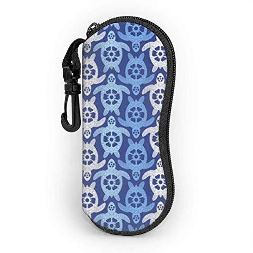 Sonnenbrille Brillenetui Blaue weiße Schildkröte Tasche Kratzfest staubsichere Brillenbox mit Gürtelclip für Schlüssel, Bleistifte, Karten