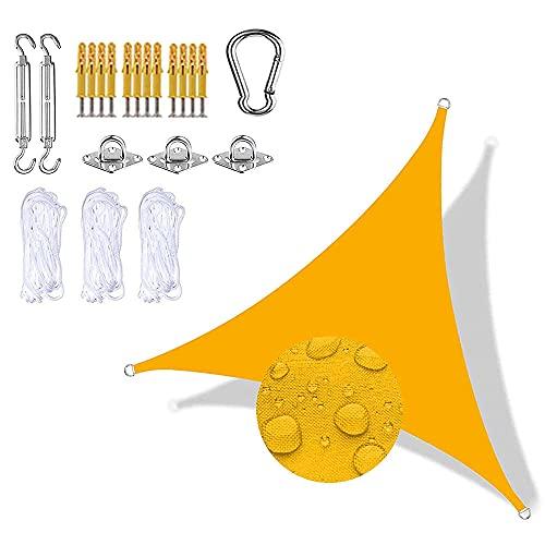 Sunuba Toldo Vela Triángulo E Impermeable Grande, Toldo Vela Exterior, Impermeable A Prueba De Viento ProteccióN UV para Patio Exteriores JardíN,Amarillo mango2.4x2.4x2.4m