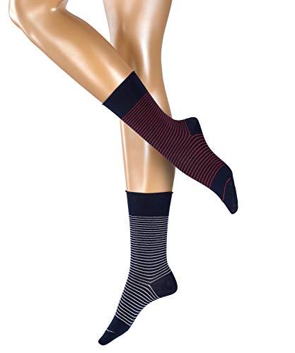 ESPRIT Damen Socken Fine Stripe 2er Pack - Baumwollmischung, 2 Paar, Blau (Marine 6120), Größe: 39-42