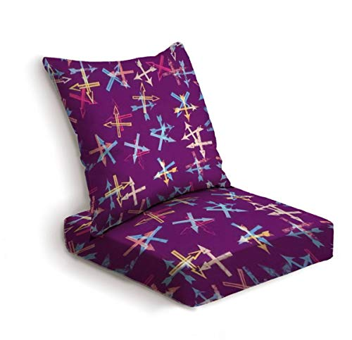 2-Piece Outdoor Deep Seat Cushion Set Abstract Seamless Pattern with Textured Arrows Vector Background Back Seat Lounge Chair Conversation Cushion for Patio Furniture Replacement Seating Cushion