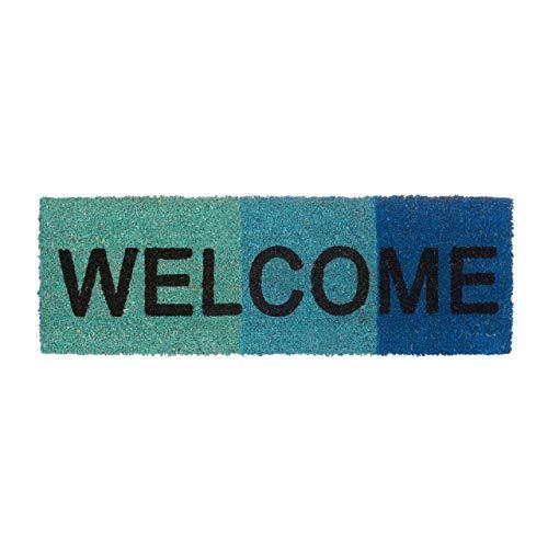 Relaxdays Fußmatte schmal mit Spruch WELCOME und Farbverlauf aus Kokos und Gummi PVC als Fußabtreter für Außen & Innen Eingangsmatte mit rutschfestem Boden als Türvorleger HBT: 1,5 x 75 x 25 cm, blau