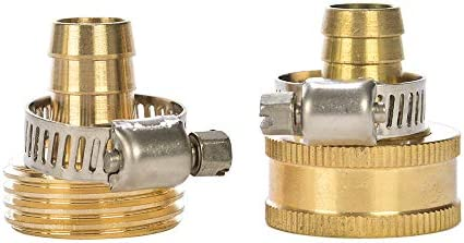 REGNHLIF Brass Garden Hose Connector Repair Mender Kit with Stainless Clamp Fits 1 2 Water Hose product image