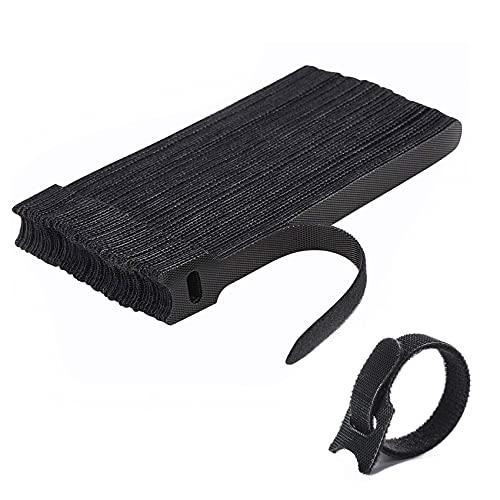 JeoPoom Cable Corbatas[50 Piezas], Velcro Adhesivo Cables, Ataduras de Cable, Bridas Reutilizables,...