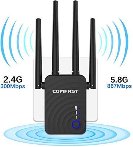 LOKIH Repetidor WiFi Amplificador WiFi 1200Mbps Doble Banda 5G & 2.4G, Extensor De Red WiFi con Puerto Gigabit Ethernet,Repetidor WiFi con WPS Y Modo De Punto De Acceso