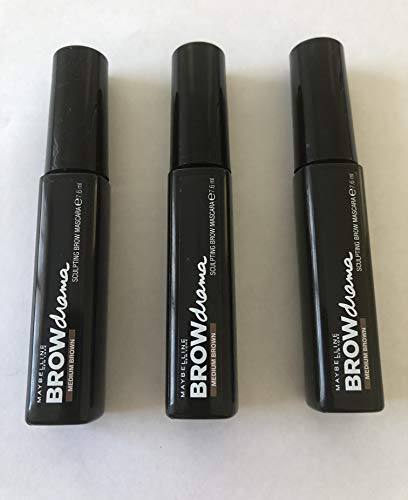 3x Maybelline Brow Drama Augenbrauen-Mascara (Medium Brown)