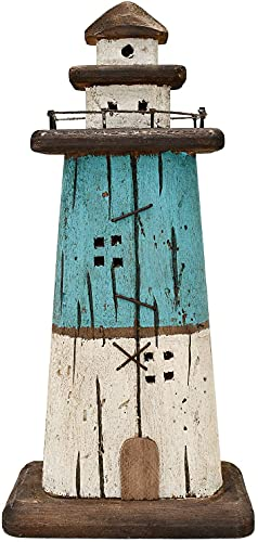 Wooden Lighthouse Decor, Decorative Nautical Lighthouse Rustic Ocean Sea Beach Themed Lighthouse Decoration,13' H Tabletop Nautical Themed Home Decor Bedroom Decor