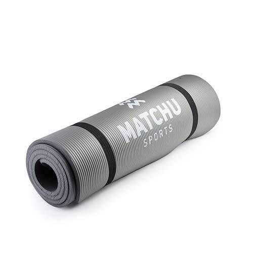 Matchu Sports - trainingsmat yogamat 183 cm x 61 cm x 0,9 cm - Grijs - Geschikt voor fitness en yoga - Anti slip materiaal - Verhoogde schokabsorptie - Dikke trainingsmat