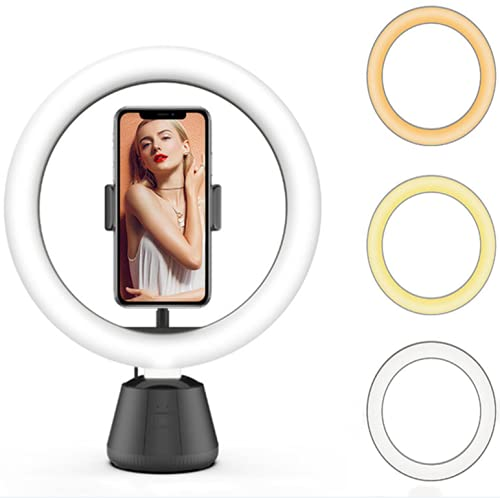 SevenSky 360° Auto-Face Rotating Mobile Tracking Camera with Ring Light Dimmable Beauty Camera,3 Light Modes&10 Brightness Levels Ring Light for Live Streaming / Makeup / YouTube / Facebook / Video