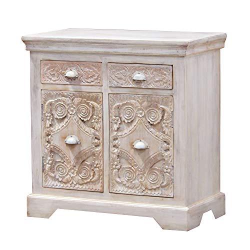 Casa Moro | Cómoda india Afsana 95 x 40 x 90 cm (B/T/H) en blanco Shabby Chic | estrecha madera de mango | Aparador para una vivienda sencilla y bonita | CA017155