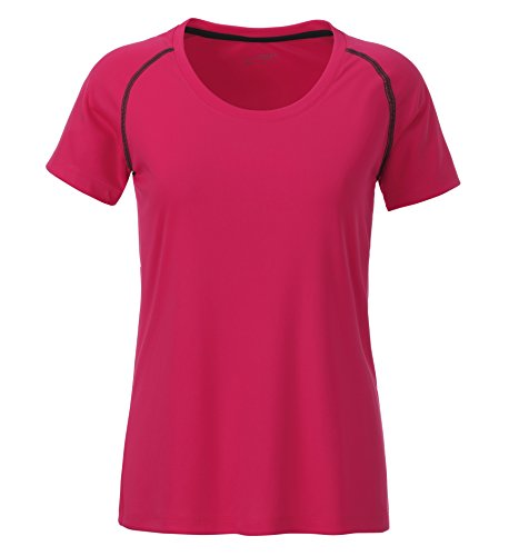 James & Nicholson Damen Ladies' Sports T-Shirt, Rosa (Bright-Pink/Titan), 36 (Herstellergröße: M)