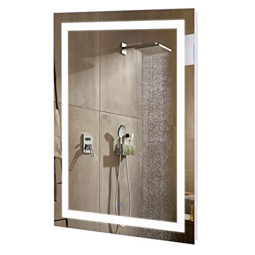 kleankin Badezimmer Spiegel mit LED Beleuchtung, Antibeschlag, Aluminium, Glas, Stahl, Weiß, Silber, 60 x 80 x 4 cm
