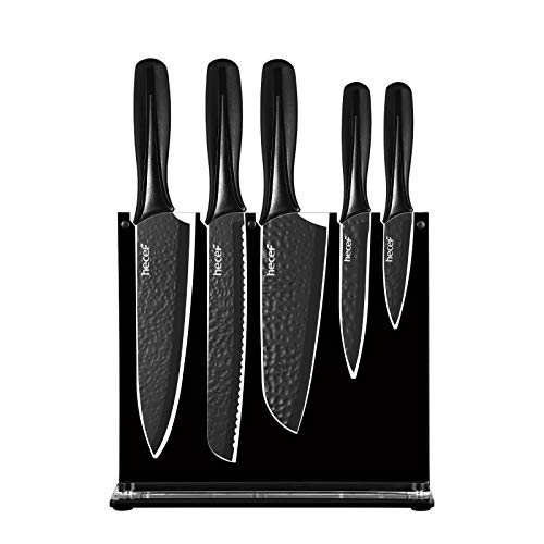 Hecef Chef Knife Set of 6, Matte Black Kitchen Knife Set with Acrylic Stand, Hammered Stainless Steel Blade & PP Handle, Suitable for Any Tasks