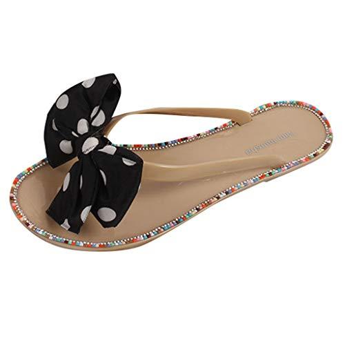 Discover Bargain Padaleks Women's Clip Toe Slippers Bowknot Flat Flip Flops Retro Bohemian Beach Wal...