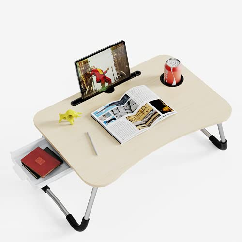 Lap Desk,Adjustable Laptop Table for Bed,Foldable Lap Desk with Storage Drawer & Cup Slot,Portable Lap Desk for Learning, Dining, Working, Gaming, Watching Movies etc .( White)