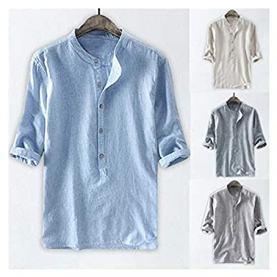 2020 New Home Pure Color Linen Button Half Slee...