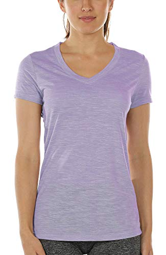 icyzone Workout Shirts for Women - Yoga Tops Activewear Gym Shirts Running Fitness V-Neck T-Shirts (Lavender, S)