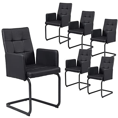 B&D home Esszimmerstuhl 6er Set, Sessel, Polsterstuhl mit Armlehne, Schwingstuhl, Vintage, schwarz, Kunstleder, für esszimmer, bis 110 kg...