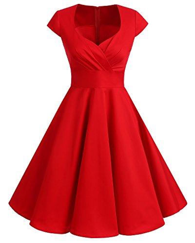 Bbonlinedress Elegancka damska sukienka w stylu vintage, lata 50., z dekoltem w literę V,