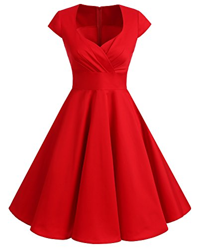 Bbonlinedress Women's Vintage 1950s cap Sleeve Rockabilly Cocktail Dress Multi-Colored Red S