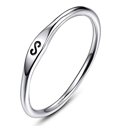 AVECON Silver Ring for Women, 925 Sterling Silver Engagement Wedding Promise Band Ring Carved Infinity/S/Geometry Symbol Similarity - Best Gift for Her Simple Design (7.5)