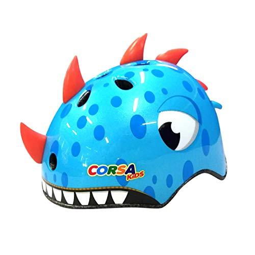 HAHADONG Casco para niños, para niños de 2 a 13 años, lindos cascos de dinosaurio 3D, juguetes para niños, equipo de protección para niños, protección para bicicleta, protección deportiva, azul, M