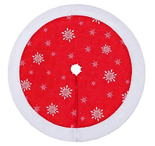 Agoer Hochwertige Weihnachtsbaumdecke, Schneeflocke runde Christbaumdecke für den Weihnachtsbaum - Unterlage mit Weihnachtsmotiv Baumdecke Weihnachten 90cm…