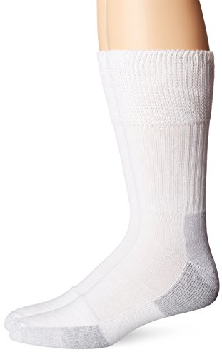Dr. Scholl's Men's 2 Pack Non-Binding Diabetes and Circulatory Odor Resistant Crew Socks, White, Shoe Size: 13-15