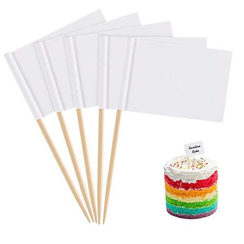 Zahnstocher-Fahnen, 100 Stück, blanko (3,5 x 2,5 cm), Verwendung für Party-Essen, Käseplatte und Cupcake-Topper, Käseetiketten, Babyparty-Namen, Obstsalat und Cocktail-Sticks