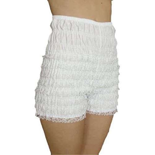 Malco Modes Adult Pettipants, Style N29, Woman Costume Shorts, Sexy Ruffle Panties, Lacey Dance Shorts, Boyshorts (White, X-Large)