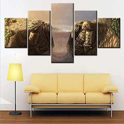 Yugipotu Frontones Decorativos - 5 Panel Impresiones sobre Lienzo Imprimir Pintura Arte De La Pared Imagen Modular Canvas Poster Decoración del Hogar Póster Anime Decor Naruto 55/45/35X20CM Frame