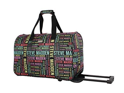 Steve Madden Luggage Suitcase Wheeled Duffle Bag (Rainbow Logo)