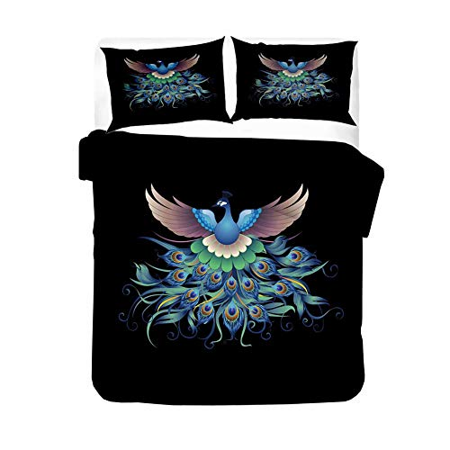 ZYLH Ropa de cama de microfibra supersuave con diseño de pavo real (100% algodón orgánico), 135 x 200 cm | cremallera | (Funda nórdica + funda de almohada) 80 x 80 cm (C,155 x 200 cm)