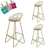 Taburete de Bar de Hierro Forjado de Taburete Alto Dorado, Respaldo Hueco, Elegante diseño de Pedal, Adecuado para la decoración del hogar del café (Altura sentada: 18/26/360 Pulgadas)