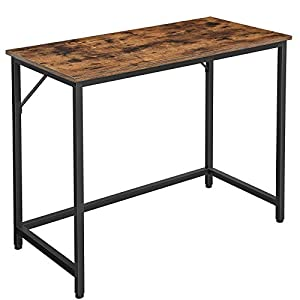VASAGLE Escritorio, Mesa de Ordenador, Mesa de Oficina Pequeña, 100 x 50 x 75 cm, para Estudio, Oficina, Montaje Simple, Metal, Diseño Industrial, Marrón Rústico LWD41X