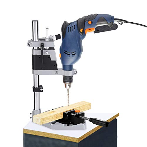 Drill Bench Press Stand, Adjustable Table Drill Stand Universal Bench Clamp Drill Press Stand 2-in1 Multi Purpose Drill Press & Tool Holder for Power Drills with Collar Diameter of 1.7'' or 1.48''