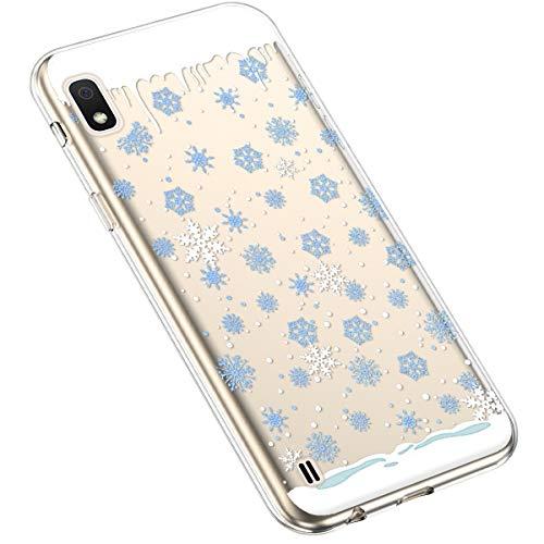 Uposao Kompatibel mit Samsung Galaxy A10 Silikonhülle Christmas Durchsichtig Weiche TPU Handytasche Transparent Ultra Dünn Klar Crystal Clear Bumper Backcover,Blau Schneeflocken