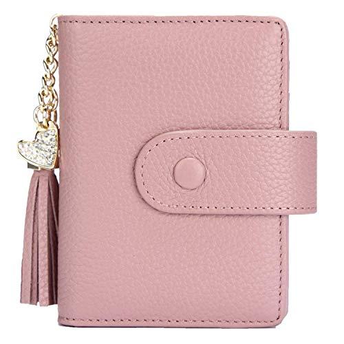 Echt Leder Kredit- und Visitenkartenetui mit 21 Fächer, Kartenetui Scheckkartenetui Kartenmäppchen Kreditkartenmäppchen für Herren und Damen (Pink)