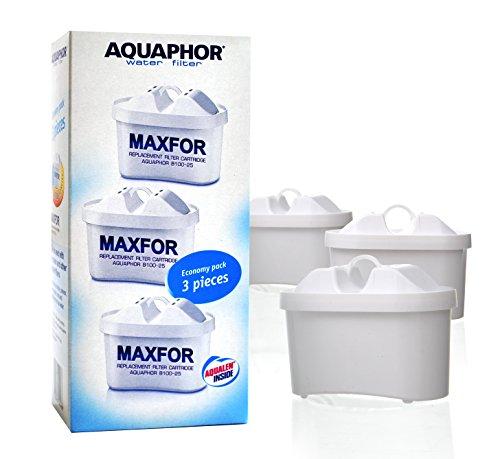 3repuestos universales de filtros de agua antibacterianos Aquaphor Maxfor, capacidad de 200 L, B100-25, compatible con jarras con filtro de agua Aquaphor Amatista, Aquaphor Orion, Aquaphor Ágata y Aquaphor Tiempo Compatible con la mayoría de jarras Brita. Pack de ahorro.