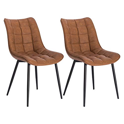 WOLTU® Esszimmerstühle BH207hbr-2 2er Set Küchenstuhl Polsterstuhl Wohnzimmerstuhl Sessel mit Rückenlehne, Sitzfläche aus Kunstleder, Metallbeine, Antiklederoptik, Hellbraun