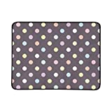 Colorful Dots On Dark Background Retro Seamles Pattern Portable and Foldable Blanket Mat 60x78 Inch Handy Mat for Camping Picnic Beach Indoor Outdoor Travel