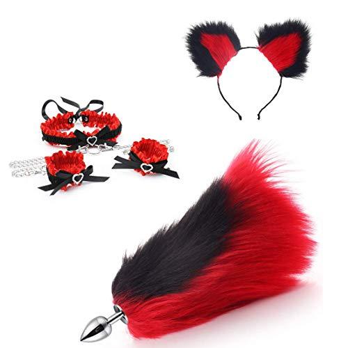 Negro-Rojo Peludo Orejas de gato Diadema Collar de nudo de lazo Esposas Collar Cola de zorro Pl-úg Set (L)