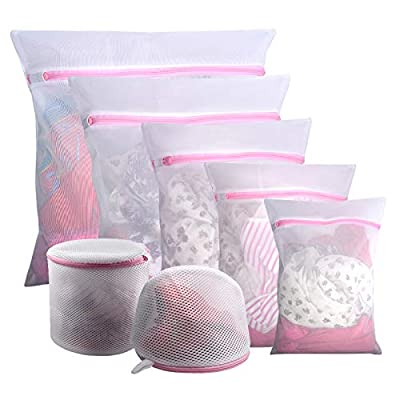 GOGOODA 7PCS Mesh Laundry Bags, Reuse Durable Washing Machine Bag for Delicates Blouse, Hosiery, Underwear, Bra, Lingerie and Baby Clothes …