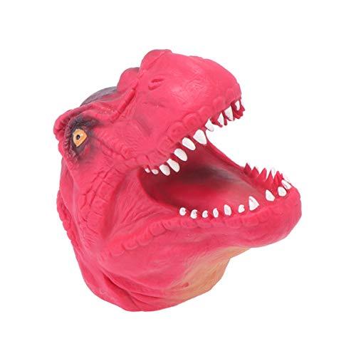 Amosfun Dinosaurio ttere de Mano Suave Realista tiranosaurio t-Rex Cabeza Guante Dino Criatura Animales Juguete para Fiesta temtica de Halloween Cosplay Disfraz (Rojo)