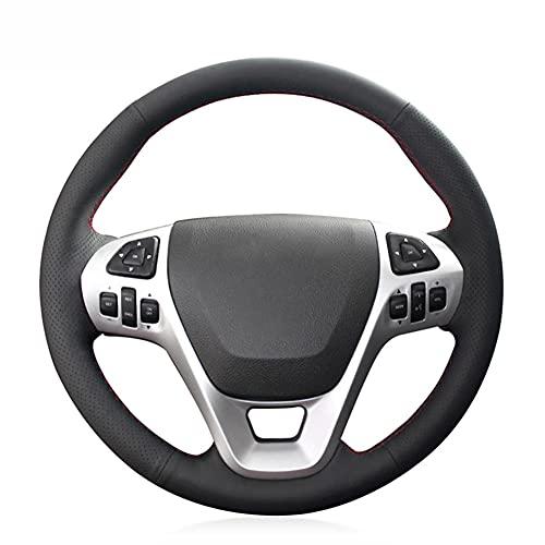 brrCVE Cubierta de Cuero Negro para Volante de Coche, para Ford Explorer 2011-2019 Taurus Flex 2012-2019 Edge 2011-2014