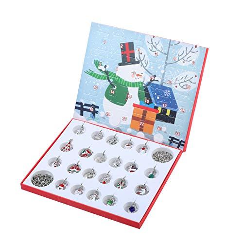 Advent Calendar 2020 Christmas Countdown Calendar DIY 24 Days Xmas Charms Bracelets 2pcs & 22 Charms Beads Jewelry Making Set for Kids Girls (A)