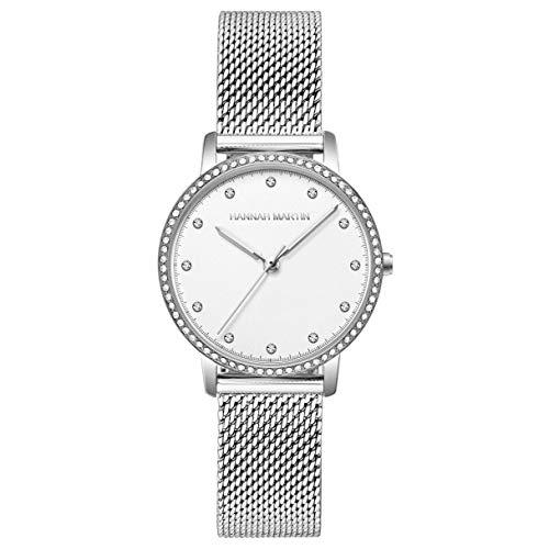 Mujer Relojes, L'ananas Moda Lux de Entrada Anillo de Diamantes de imitación Escalas de Tiempo de Cristal Cinturón de Malla Relojes de Pulsera Women Watches Wristwatches (Plata Puro)